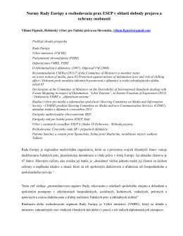 Normy Rady Európy a rozhodovacia prax ESĽP v oblasti slobody