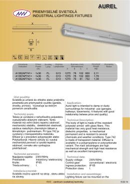 priemyselné svietidlá industrial lightings fixtures