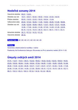 Nedeľné oznamy 2014 - Farnosť Martin - Mesto