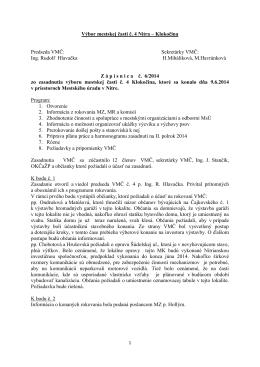 Zápisnica zo zasadnutia VMČ 4 zo dňa 9.6.2014
