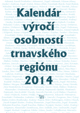 Kalendár výročí osobností trnavského regiónu 2014