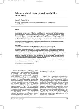 Adenomatoidný tumor pravej nadobličky - česko