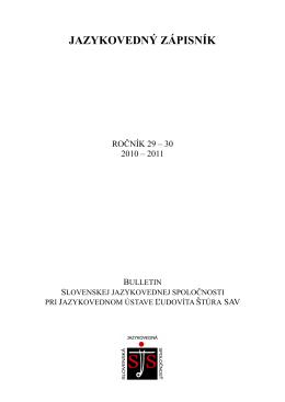 Jazykovedný zápisník 2010 – 2011