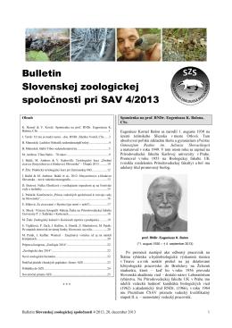 Bulletin Slovenskej zoologickej spoločnosti pri SAV 4/2013
