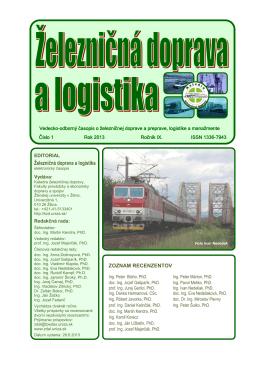 číslo 1/2013 - Fakulta prevádzky a ekonomiky dopravy a spojov