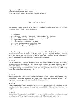 Zápisnica zo zasadnutia VMČ 4 zo dňa 9.2.2015