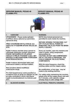 servisní manuál pegas 40 plasma pfc service manual