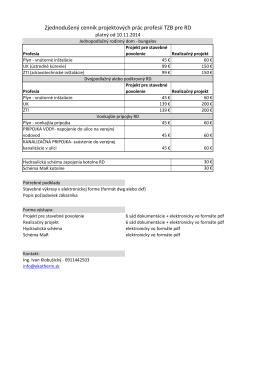 Zjednodušený cenník projektových prác profesií TZB pre