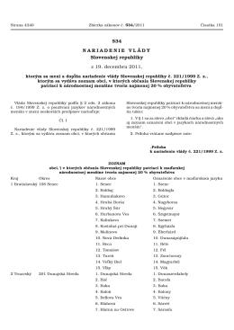 534/2011 Nariadenie vlády Slovenskej republiky, ktorým sa mení a