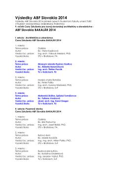 Výsledky ABF Slovakia 2014.pdf - Fakulta umení