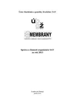 Správa o činnosti ÚBGŽ SAV za rok 2013