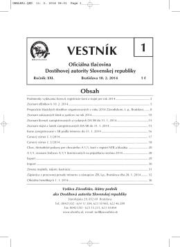 VESTNÍK 1 - Závodisko Bratislava