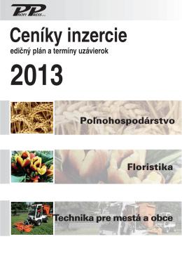 Ceníky inzercie - Roľnícke noviny