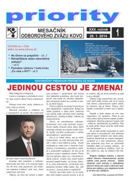 Január - Odborový zväz KOVO