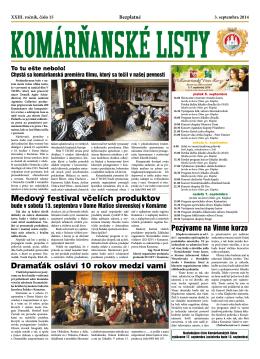 Komárňanské listy 15/2014 - Mestská televízia Komárno