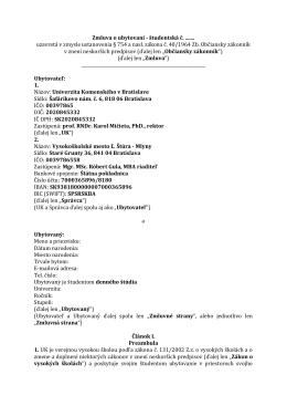 Študentská zmluva o ubytovaní 2014/15 - Mlyny