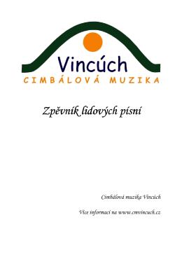 Zpěvník lidových písní - cimbálová muzika Vincúch