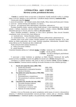 Prehľad literatúry pre 1. a 2. ročník nové! - Zmaturuj.sk