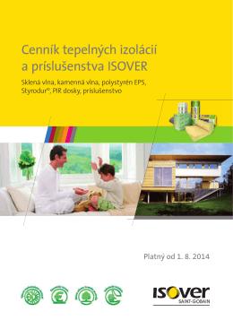 Cenník tepelných izolácií a príslušenstva ISOVER