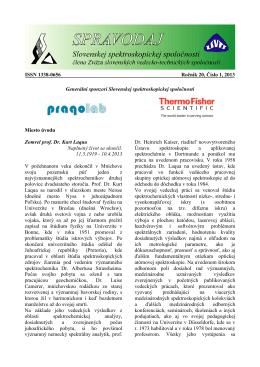 Spravodaj ročník 20 č. 1 - Slovenská spektroskopická spoločnosť