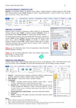 Textový editor Microsoft Word 12 GRAFICKÉ OBJEKTY