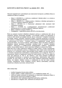 Koncepcia rozvoja školy - ZŠ s MŠ Zborov nad Bystricou