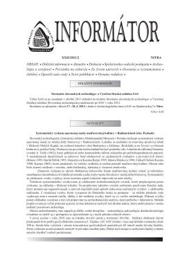 Informátor SAS XXII/2011/2 - Slovenská archeologická spoločnosť