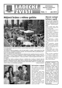 Jún 2013 - Aktuality obce Ladce