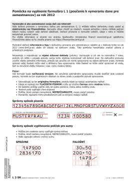 Pomôcka na vyplnenie formulára L 1 (poučenie k