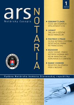 ars notaria 1/2013 - Notárska komora Slovenskej republiky
