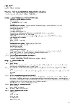 podlimitné zákazky - Gymnázium Jozefa Miloslava Hurbana
