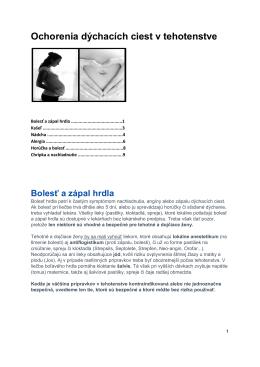 Ochorenia dýchacích ciest v tehotenstve