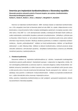Implantácia KS - Slovenská asociácia srdcových arytmií