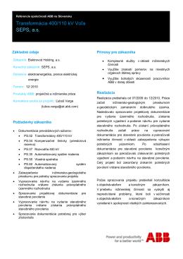 Transformácia 400/110 kV Voľa SEPS, a.s.
