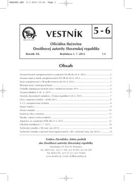Vestník 5-6/2013 - Závodisko Bratislava