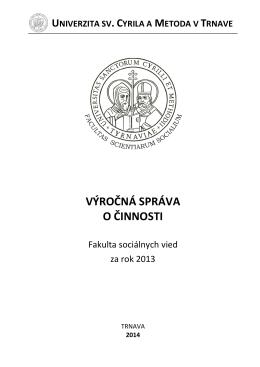 Výročná správa FSV UCM 2013