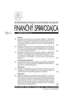 Finančnom spravodajcovi č. 12/2010