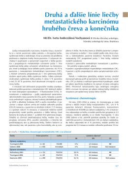 Druhá a ďalšie línie liečby metastatického karcinómu hrubého čreva