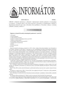Informátor SAS XXIV/2013/1-2 - Slovenská archeologická spoločnosť