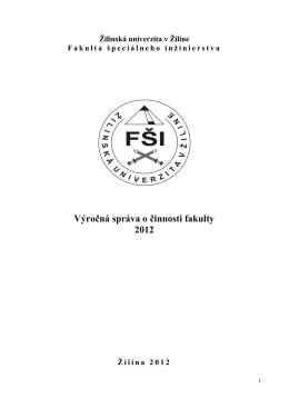 Výročná správa o činnosti fakulty 2012