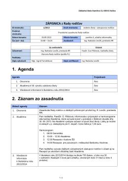 ZÁPIS ZO STRETNUTIA - Základná Škola, Staničná 13, Košice