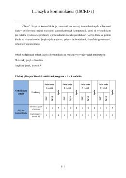 I. Jazyk a komunikácia (ISCED 1)