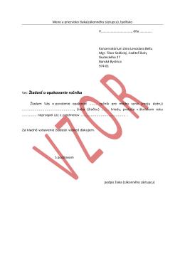 Vec: Žiadosť o opakovanie ročníka