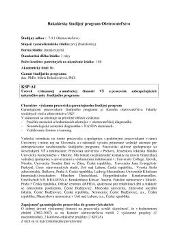Bakalársky študijný program Ošetrovateľstvo KSP-A1