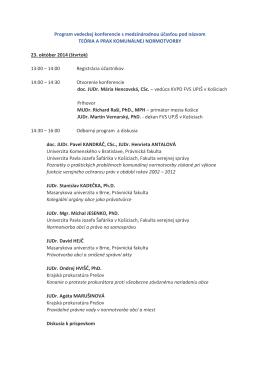 Program vedeckej konferencie s medzinárodnou účasťou pod