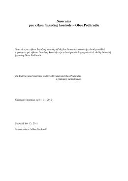 Smernica pre výkon finančnej kontroly – Obce