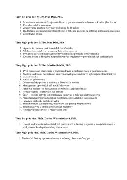Témy Bc. prác doc. MUDr. Ivan Dóci, PhD. 1. Manažment