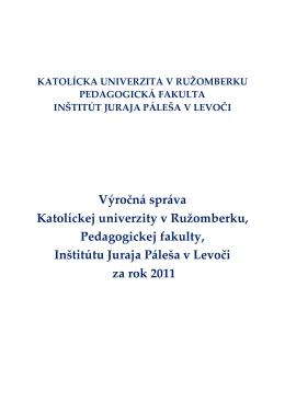 Výročná správa IJP 2011 - Inštitút Juraja Páleša v Levoči