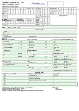 Žiadanka na vyšetrenie IMR X 0 0 1 Klinická imunológia