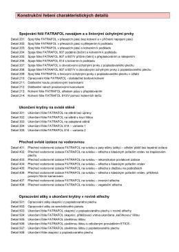 Konstrukční řešení detailů FATRAFOL-S